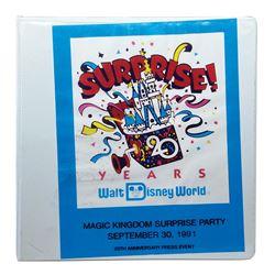 Magic Kingdom Surprise Party Press Event Binder.