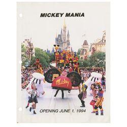 Mickey Mania Preopening Parade Binder.