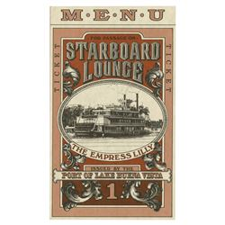 Starboard Lounge Menu.