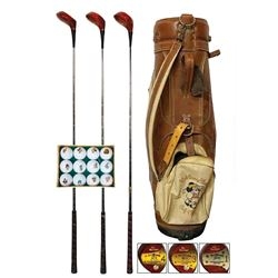 Set of Clubs, Golf Bags, and (28) Character Golf Balls.
