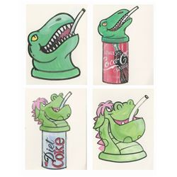 Set of (4) Animal Kingdom Drink Topper Concept Art.