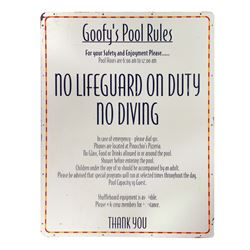 Disney Magic Goofy's Pool Sign.