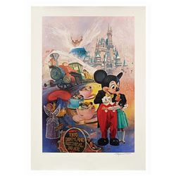 Signed Tokyo Disneyland 5th Anniversary Lithograph.