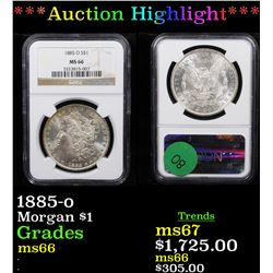 ***Auction Highlight*** NGC 1885-o Morgan Dollar $1 Graded ms66 By NGC (fc)
