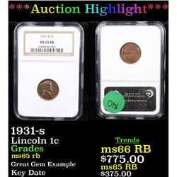 ***Auction Highlight*** NGC 1931-s Lincoln Cent 1c Graded ms65 rb By NGC (fc)
