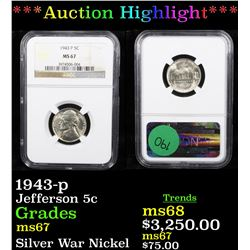 ***Auction Highlight*** 1943-p Jefferson Nickel 5c Graded ms67 By NGC (fc)