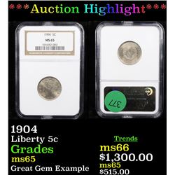 ***Auction Highlight*** NGC 1904 Liberty Nickel 5c Graded ms65 By NGC (fc)