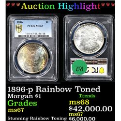 ***Auction Highlight*** PCGS 1896-p Rainbow Toned Morgan Dollar $1 Graded ms67 By PCGS (fc)