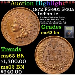 ***Auction Highlight*** 1872 FS-901 S-10a Indian Cent 1c Graded Select Unc BN By USCG (fc)