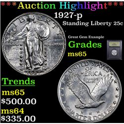 ***Auction Highlight*** 1927-p Standing Liberty Quarter 25c Graded GEM Unc By USCG (fc)