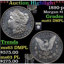 ***Auction Highlight*** 1890-p Morgan Dollar $1 Graded Select Unc DMPL By USCG (fc)