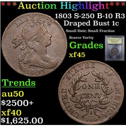 ***Auction Highlight*** 1803 S-250 B-10 R3 Draped Bust Large Cent 1c Graded xf+ By USCG (fc)