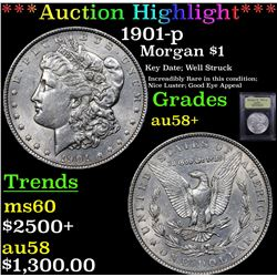 ***Auction Highlight*** 1901-p Morgan Dollar $1 Graded Choice AU/BU Slider+ By USCG (fc)