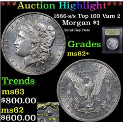 ***Auction Highlight*** 1886-s /s Top 100 Vam 2 Morgan Dollar $1 Graded Select Unc By USCG (fc)