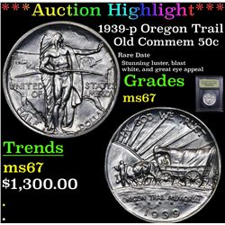 ***Auction Highlight*** 1939-p Oregon Trail Old Commem Half Dollar 50c Graded GEM++ Unc By USCG (fc)