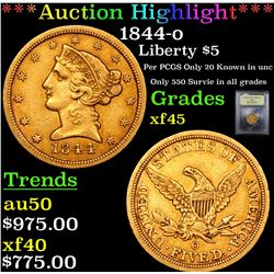 ***Auction Highlight*** 1844-o Gold Liberty Half Eagle $5 Graded xf+ By USCG (fc)