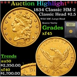 ***Auction Highlight*** 1834 Classic HM-2 Classic Head $2 1/2 Gold Graded xf+ By USCG (fc)