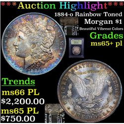***Auction Highlight*** 1884-o Rainbow Toned Morgan Dollar $1 Graded GEM+ PL By USCG (fc)