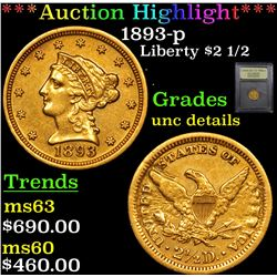 ***Auction Highlight*** 1893-p Gold Liberty Quarter Eagle $2 1/2 Graded Unc Details By USCG (fc)