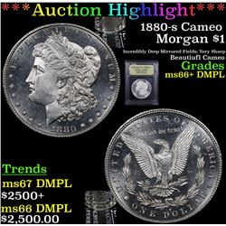 ***Auction Highlight*** 1880-s Cameo Morgan Dollar $1 Graded GEM++ DMPL By USCG (fc)