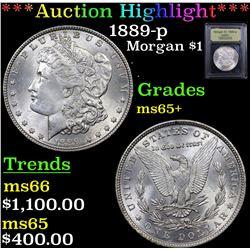 ***Auction Highlight*** 1889-p Morgan Dollar $1 Graded GEM+ Unc By USCG (fc)
