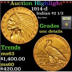 ***Auction Highlight*** 1914-d Gold Indian Quarter Eagle $2 1/2 Graded Unc Details By USCG (fc)