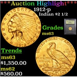 ***Auction Highlight*** 1912-p Gold Indian Quarter Eagle $2 1/2 Graded Select Unc By USCG (fc)