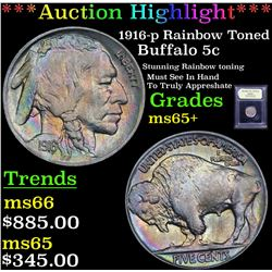 ***Auction Highlight*** 1916-p Rainbow Toned Buffalo Nickel 5c Graded GEM+ Unc By USCG (fc)