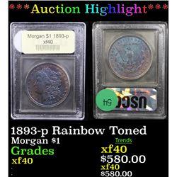 ***Auction Highlight*** 1893-p Rainbow Toned Morgan Dollar $1 Graded xf By USCG (fc)