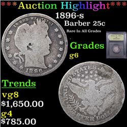 ***Auction Highlight*** 1896-s Barber Quarter 25c Graded g+ By USCG (fc)