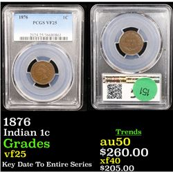 PCGS 1876 Indian Cent 1c Graded vf25 By PCGS