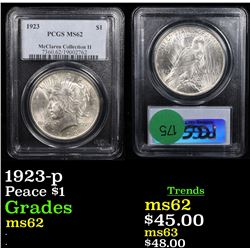 PCGS 1923-p Peace Dollar $1 Graded ms62 By PCGS