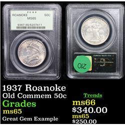 PCGS 1937 Roanoke Old Commem Half Dollar 50c Graded ms65 By PCGS