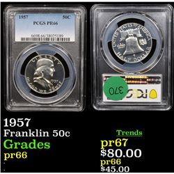 Proof PCGS 1957 Franklin Half Dollar 50c Graded pr66 By PCGS