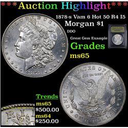 1878-s Vam 6 Hot 50 Morgan Dollar $1 Graded GEM Unc By USCG
