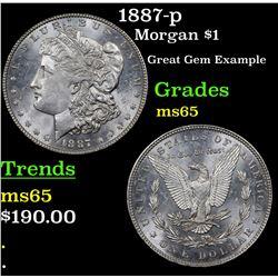 1887-p Morgan Dollar $1 Grades GEM Unc