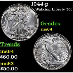 1944-p Walking Liberty Half Dollar 50c Grades Choice Unc