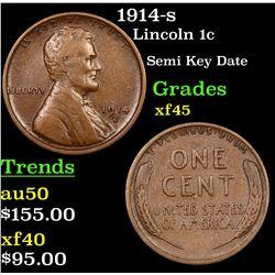 1914-s Lincoln Cent 1c Grades xf+