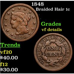 1848 Braided Hair Large Cent 1c Grades vf details