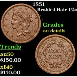 1851 Braided Hair Half Cent 1/2c Grades AU Details