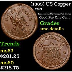 (1863) US Copper Civil War Token 1c Grades Unc Details