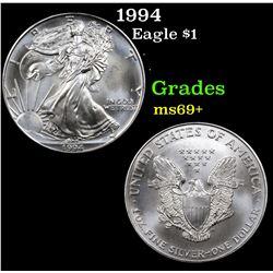 1994 Silver Eagle Dollar $1 Grades ms69+
