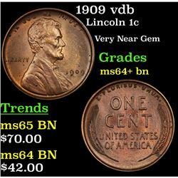 1909 vdb Lincoln Cent 1c Grades Choice+ Unc BN