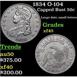 1834 O-104 Capped Bust Half Dollar 50c Grades xf+