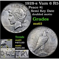1928-s Vam 6 R5 Peace Dollar $1 Grades Select Unc