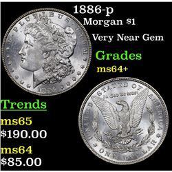 1886-p Morgan Dollar $1 Grades Choice+ Unc