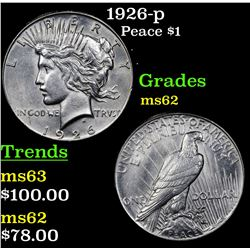 1926-p Peace Dollar $1 Grades Select Unc