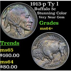 1913-p Ty I Buffalo Nickel 5c Grades Choice+ Unc