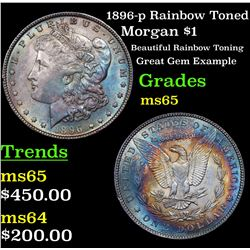 1896-p Rainbow Toned Morgan Dollar $1 Grades GEM Unc