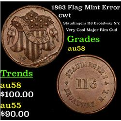 1863 Flag Mint Error Civil War Token 1c Grades Choice AU/BU Slider